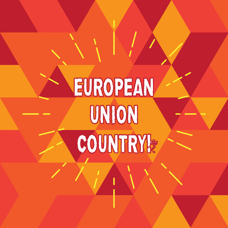 Conceptual hand writing showing European Union Country. Business photo text States or countries that located primarily in Europe Thin Beam Lines Spreading out Sunburst Radiates on Squares