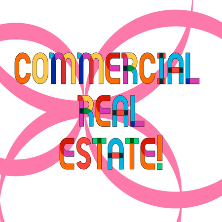 Writing note showing Commercial Real Estate. Business photo showcasing property that is used solely for business purposes Ribbon Forming Geometric Round Shape Overlapping on Isolated Surface