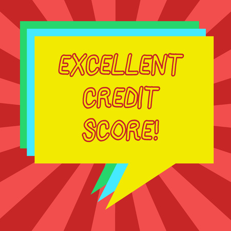Conceptual hand writing showing Excellent Credit Score. Business photo showcasing number that evaluates a consumer s is creditworthiness Stack of Speech Bubble Different Color Piled Text Balloon