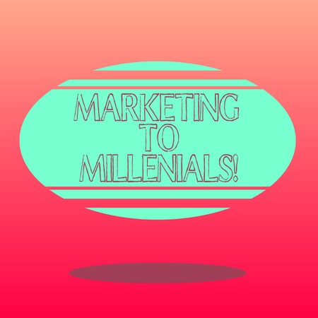 Handwriting text writing Marketing To Millenials. Concept meaning Be socially connected Internet savvy and stay mobile Blank Color Oval Shape with Horizontal Stripe Floating and Shadow photo Stock Photo