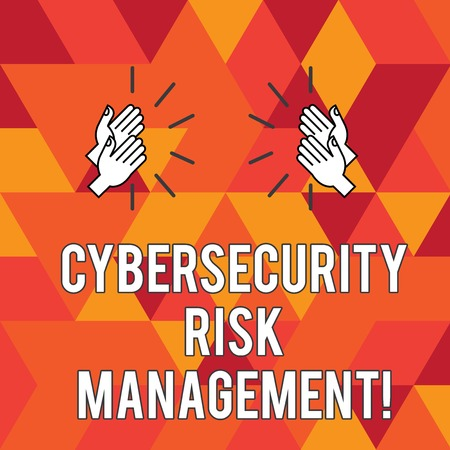Writing note showing Cybersecurity Risk Management. Business photo showcasing Identifying threats and applying actions Hu analysis Hands Clapping with Sound on Geometrical Shapes
