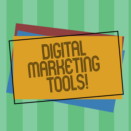 Word writing text Digital Marketing Tools. Business concept for Channels or platforms use in advertising a product Pile of Blank Rectangular Outlined Different Color Construction Paper