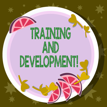 Word writing text Training And Development. Business concept for constant organizational improvement process Cutouts of Sliced Lime Wedge and Herb Leaves on Blank Round Color Plate Foto de archivo