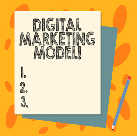 Handwriting text Digital Marketing Model. Concept meaning company s is plan for how it will generate revenues Stack of Blank Different Pastel Color Construction Bond Paper and Pencil