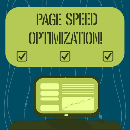 Text sign showing Page Speed Optimization. Conceptual photo Improve the speed of content loading in a webpage Mounted Computer Screen with Line Graph on Desk Blank Color Text Box