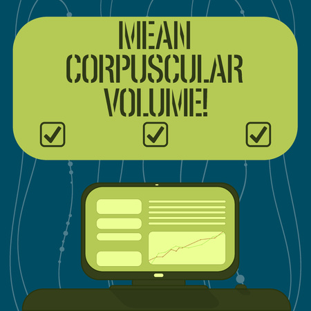 Text sign showing Mean Corpuscular Volume. Conceptual photo average volume of a red blood corpuscle measurement Mounted Computer Screen with Line Graph on Desk Blank Color Text Box