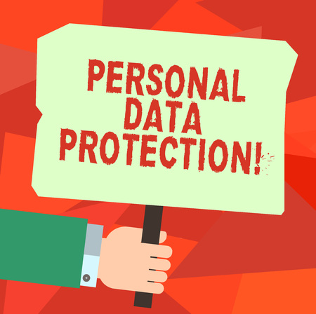 Conceptual hand writing showing Personal Data Protection. Business photo text Keeping secure the demonstratingal data information Hu analysis Hand Holding Colored Placard with Stick Text Space Stock Photo
