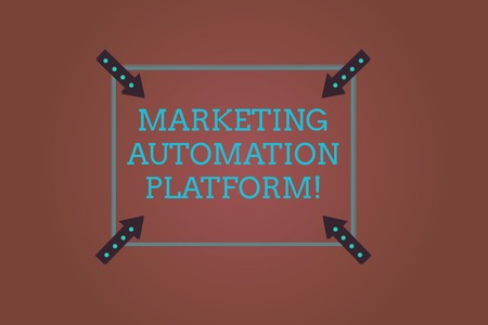 Word writing text Marketing Automation Platform. Business concept for automate repetitive task related to marketing Square Outline with Corner Arrows Pointing Inwards on Color Background Imagens