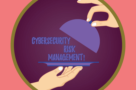 Conceptual hand writing showing Cybersecurity Risk Management. Business photo showcasing Identifying threats and applying actions Hu analysis Hands Serving Tray Platter and Lifting the Lid