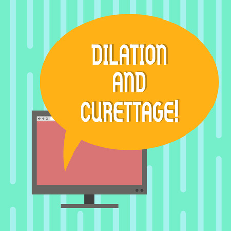 Word writing text Dilation And Curettage. Business concept for procedure to remove tissue from inside your uterus Mounted Computer Monitor Blank Screen with Oval Color Speech Bubble Stock Photo