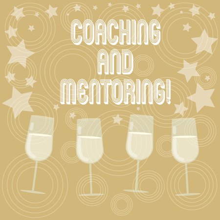 Writing note showing Coaching And Mentoring. Business photo showcasing capacity development process to achieve goals Filled Cocktail Wine Glasses with Scattered Stars as Confetti Stemware Foto de archivo