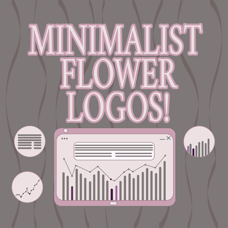 Word writing text Minimalist Flower . Business concept for use minimalism in design to make brand modern Digital Combination of Column Line Data Graphic Chart on Tablet Screen 免版税图像