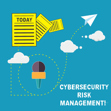 Handwriting text Cybersecurity Risk Management. Concept meaning Identifying threats and applying actions Information and Documents Passing thru Cloud Hosting Fast delivery of Data