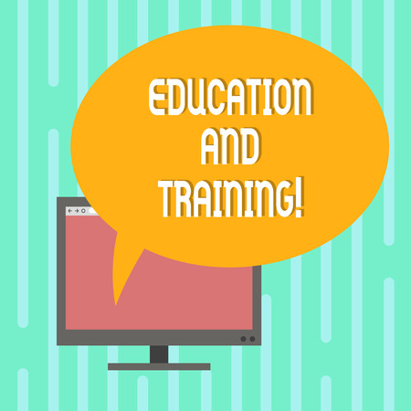Word writing text Education And Training. Business concept for acquisition of knowledge and skills thru training Mounted Computer Monitor Blank Screen with Oval Color Speech Bubble