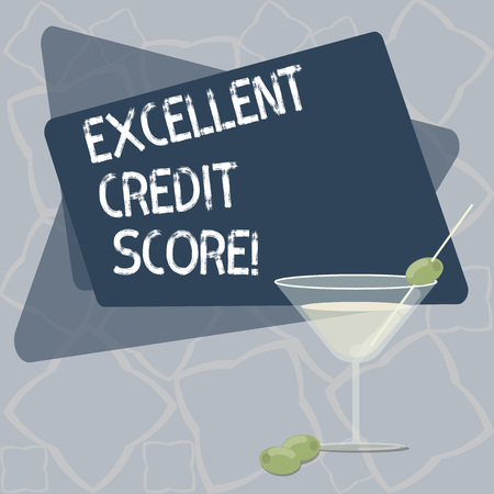 Writing note showing Excellent Credit Score. Business photo showcasing number that evaluates a consumer s is creditworthiness Filled Cocktail Wine Glass with Olive on the Rim Text Space Banque d'images