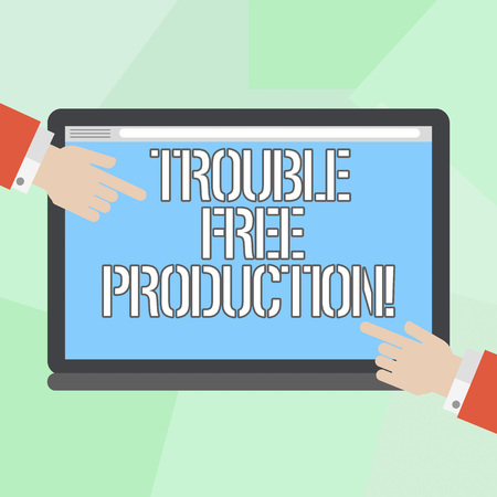 Conceptual hand writing showing Trouble Free Production. Business photo showcasing Without problems or difficulties in the production Hu analysis Hands Pointing on a Blank Color Tablet Screen Standard-Bild