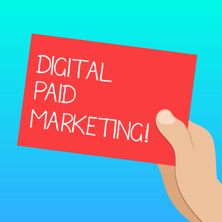 Handwriting text Digital Paid Marketing. Concept meaning marketing efforts that involve a paid placement Drawn Hu analysis Hand Holding Presenting Blank Color Paper Cardboard photo