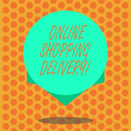 Writing note showing Online Shopping Delivery. Business photo showcasing Process of shipping an item from online purchase Blank Color Circle Floating photo with Shadow and Design at the Edge Standard-Bild