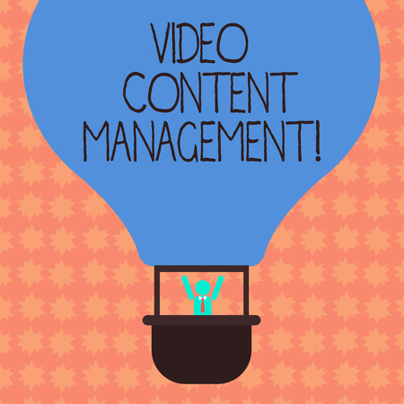 Writing note showing Video Content Management. Business photo showcasing assessment of an individual s is response to a product Hu analysis Dummy Arms Raising inside Gondola Riding Air Balloon