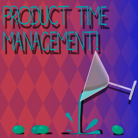 Handwriting text Product Time Management. Concept meaning Organizing, planning and analysisaging time effectively Cocktail Wine Glass Pouring Liquid with Splash Grapes and Shadow photo