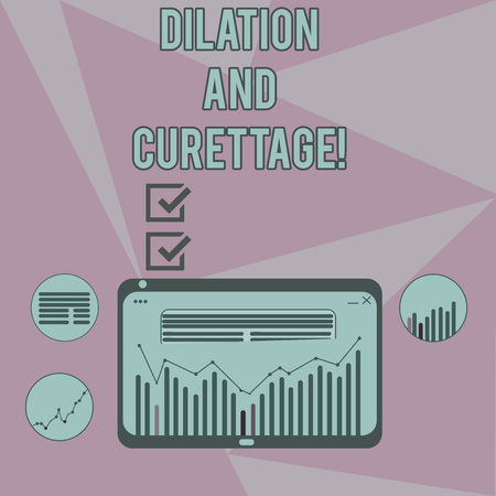 Writing note showing Dilation And Curettage. Business photo showcasing procedure to remove tissue from inside your uterus Digital Combination of Column Line Data Graphic Chart on Tablet Screen