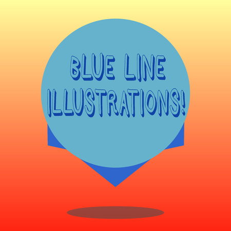Handwriting text Blue Line Illustrations. Concept meaning investing in building an online presence and trust Blank Color Circle Floating photo with Shadow and Design at the Edge Stock Photo