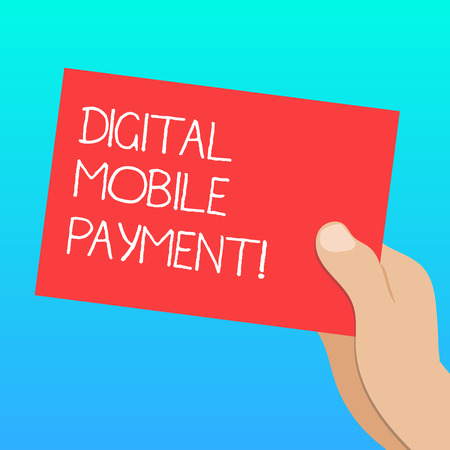 Handwriting text Digital Mobile Payment. Concept meaning way of payment which made through digital modes Drawn Hu analysis Hand Holding Presenting Blank Color Paper Cardboard photo Stock Photo
