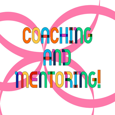 Writing note showing Coaching And Mentoring. Business photo showcasing capacity development process to achieve goals Ribbon Forming Geometric Round Shape Overlapping on Isolated Surface