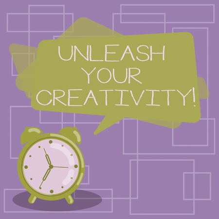 Text sign showing Unleash Your Creativity. Conceptual photo Getting in touch what you are passionate about Blank Rectangular Color Speech Bubble Overlay and Analog Alarm Clock 版權商用圖片