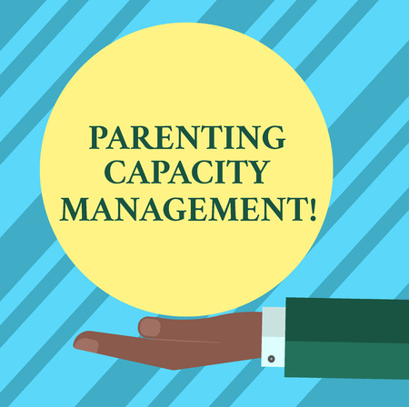 Text sign showing Parenting Capacity Management. Conceptual photo parents ability to protect children from risk Hu analysis Hand in Suit Offering Blank Solid Color Circle for Posters