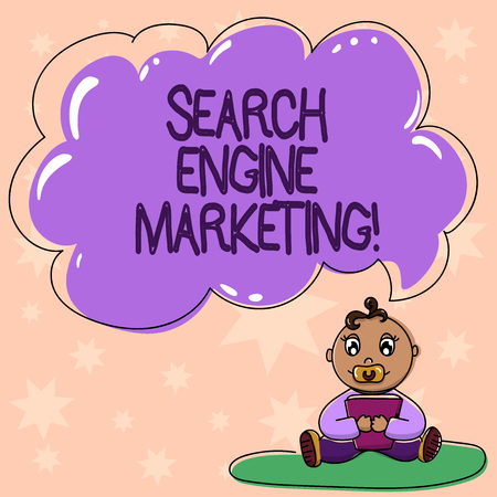 Word writing text Search Engine Marketing. Business concept for promotion of websites by increasing their visibility Baby Sitting on Rug with Pacifier Book and Blank Color Cloud Speech Bubble 免版税图像