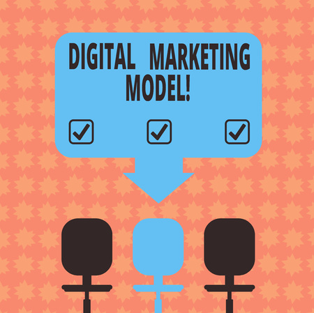 Writing note showing Digital Marketing Model. Business photo showcasing company s is plan for how it will generate revenues Space Color Arrow Pointing to One of the Three Swivel Chairs
