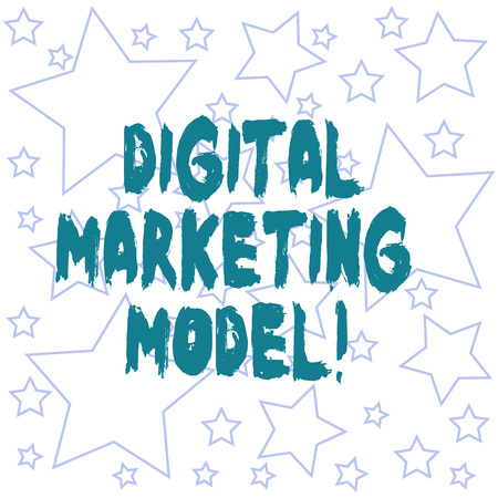 Text sign showing Digital Marketing Model. Conceptual photo company s is plan for how it will generate revenues Outlines of Different Size Star Shape in Random Seamless Repeat Pattern