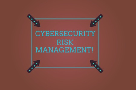 Word writing text Cybersecurity Risk Management. Business concept for Identifying threats and applying actions Square Outline with Corner Arrows Pointing Inwards on Color Background