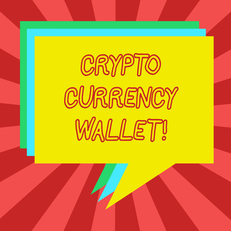 Conceptual hand writing showing Crypto Currency Wallet. Business photo showcasing Digital wallet that allows users to analysisage bitcoin Stack of Speech Bubble Different Color Piled Text Balloon