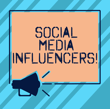 Text sign showing Social Media Influencers. Conceptual photo showing who have a reputation for their knowledge Megaphone Sound icon Outlines Blank Square Loudspeaker Text Space photo Stock Photo