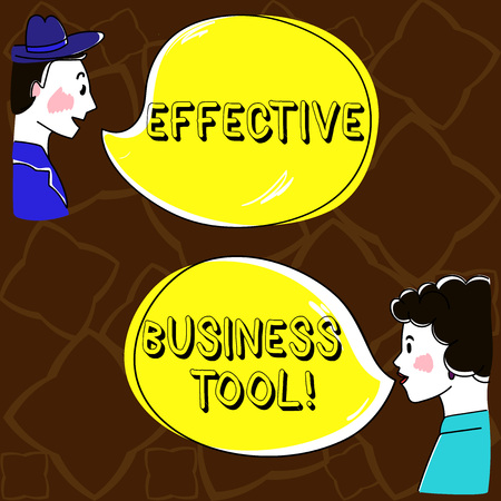 Word writing text Effective Business Tool. Business concept for used to control and improve business processes Hand Drawn Man and Wo analysis Talking photo with Blank Color Speech Bubble