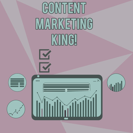 Writing note showing Content Marketing King. Business photo showcasing Content is central to the success of a website Digital Combination of Column Line Data Graphic Chart on Tablet Screen