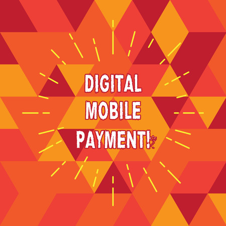 Conceptual hand writing showing Digital Mobile Payment. Business photo text way of payment which made through digital modes Thin Beam Lines Spreading out Sunburst Radiates on Squares