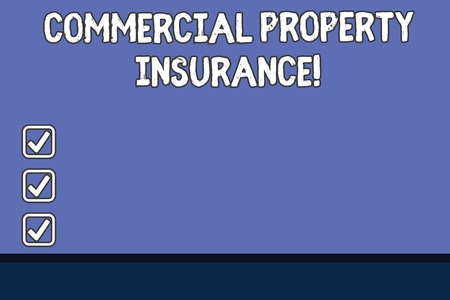 Conceptual hand writing showing Commercial Property Insurance. Business photo text provides protection against most risks Color Rectangular Shape with Outline and Round Beam in Center