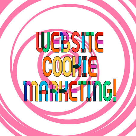 Conceptual hand writing showing Website Cookie Marketing. Business photo showcasing information and insights of the webpage users Multiple Layers of Circle Concentric Converging Spiraling