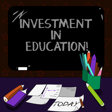 Writing note showing Investment In Education. Business photo showcasing Attain knowledge which will increase earning Mounted Blackboard with Chalk Writing Tools Sheets on Desk