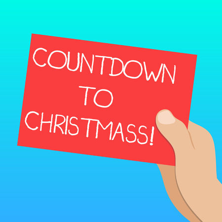 Handwriting text Countdown To Christmas. Concept meaning period of time leading up to a significant event Drawn Hu analysis Hand Holding Presenting Blank Color Paper Cardboard photo