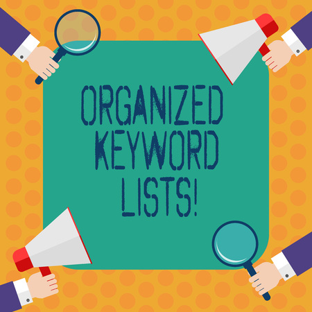 Writing note showing Organized Keyword Lists. Business photo showcasing Taking list of keywords and place them in groups Hu analysis Hands Holding Magnifying Glass and Megaphone