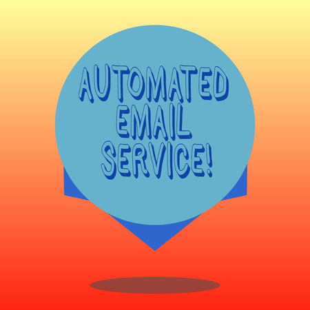 Handwriting text Automated Email Service. Concept meaning automatic decision making based on big data Blank Color Circle Floating photo with Shadow and Design at the Edge Stock Photo