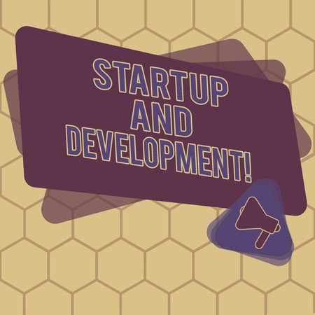 Conceptual hand writing showing Startup And Development. Business photo text search for a repeatable and scalable business model Megaphone Inside Triangle and Rectangle for Announcement