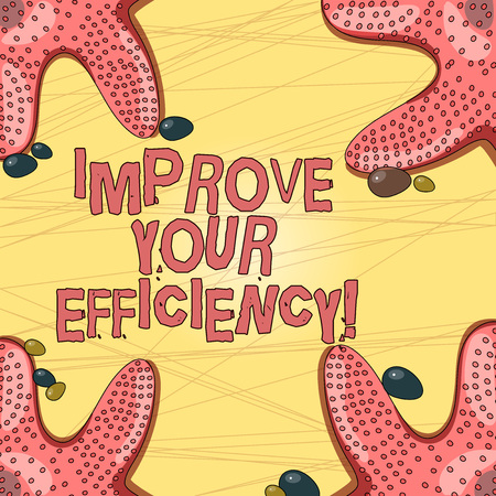 Writing note showing Improve Your Efficiency. Business photo showcasing increase productivity while still saving time Starfish on Four Corners with Pebbles for Poster Ads Cards