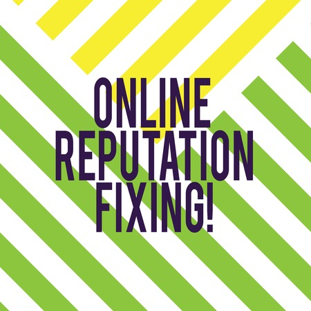 Writing note showing Online Reputation Fixing. Business photo showcasing Taking control of the online conversation Diagonal Twotone Lines photo Forming Triangular Shape Copy Space