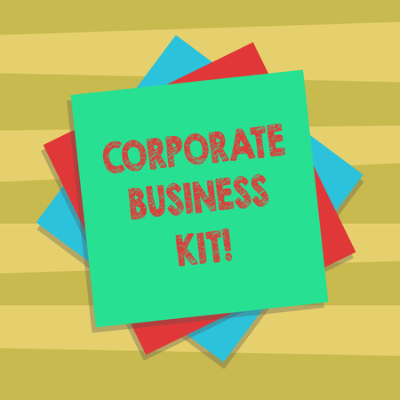 Text sign showing Corporate Business Kit. Conceptual photo Customized structural binder or emblem of a business Multiple Layer of Blank Sheets Color Paper Cardboard photo with Shadow
