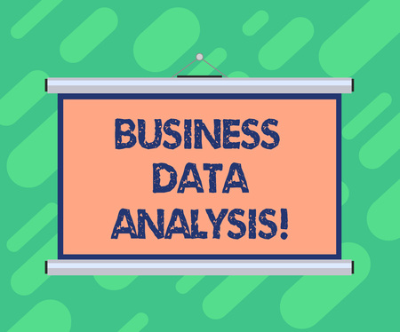Conceptual hand writing showing Business Data Analysis. Business photo showcasing process of evaluating data using analytical tool Portable Wall Projection Screen for Conference Presentation Stock Photo